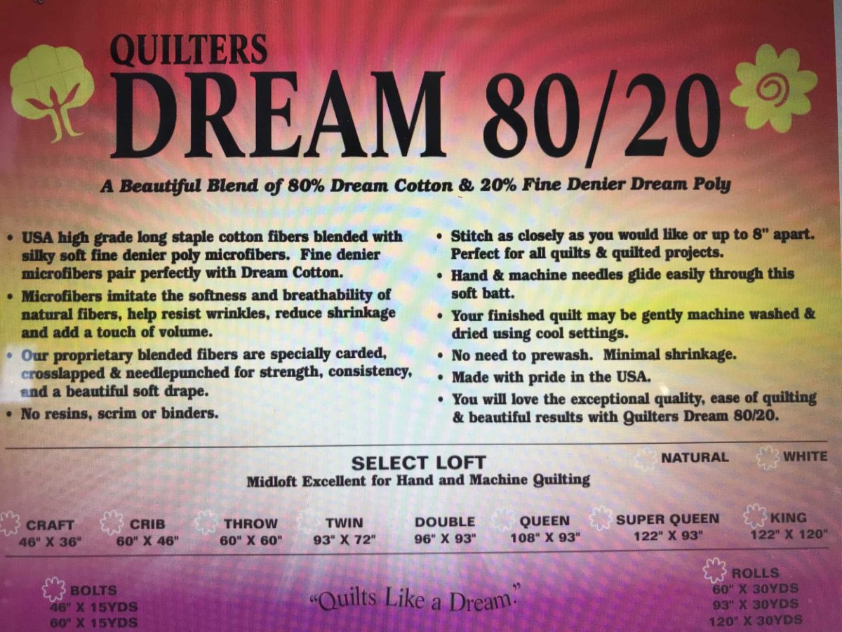 Quilters Dream 80/20 Blend Batting