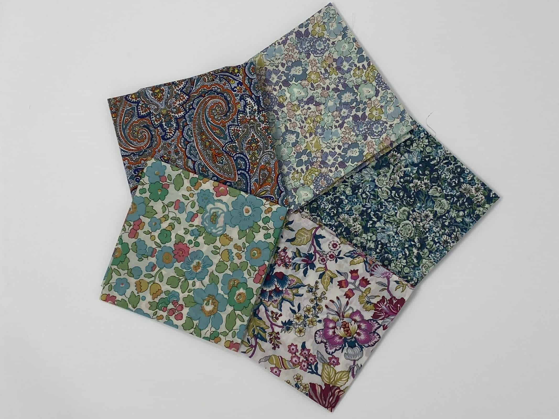bundle of 5 Liberty of London prints in either fat quarters, fat eighths or fat sixteenths