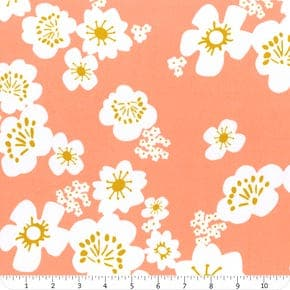"""108"""", yellow, coral, cream, cotton, sateen, floral, quilt backing, Ruby Star Society, wide back, Rashida Coleman Hale, whatnot"""
