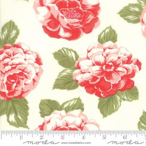 """108"""", cream, pink, red, green, cotton, sateen, floral, quilt backing, Moda, wide back, Bonnie & Camille, Early Bird"""