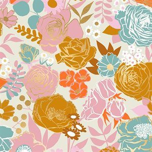 """bright floral 108"""" sateen quilt back on a cream background"""