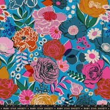 bright floral on a blue background by melody miller