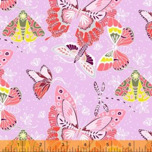 hand drawn and watercolour moths on a lilac background