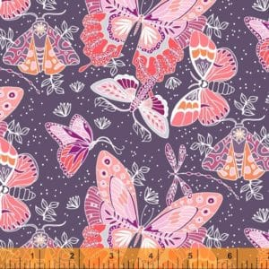 hand drawn and watercolour moths on a purple background