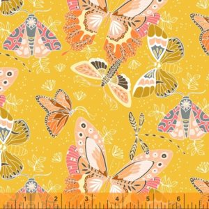 hand drawn and watercolour moths on a yellow background