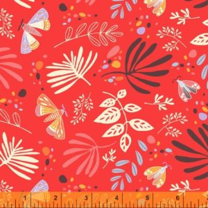 hand drawn moths, and leaves on a red orange background