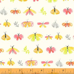 colourful hand drawn moths, leaves and butterflies on an ivory background