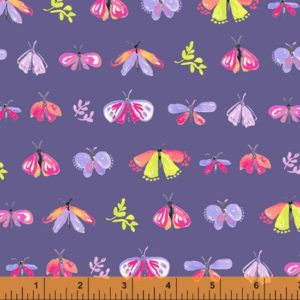 colourful hand drawn moths, leaves and butterflies on a blue purple background