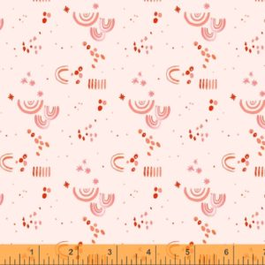 hand drawn rainbow, dots and stripes on a blush background