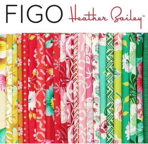 true kisses, figo fabrics, heather bailey, floral, green, cream, pink, orange, red, green